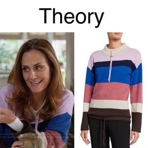 🆕Theory Striped Mock Cashmere Pullover Sweater